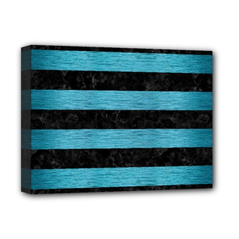 Stripes2 Black Marble & Teal Brushed Metal Deluxe Canvas 16  X 12   by trendistuff