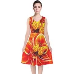 Arrangement Butterfly Aesthetics Orange Background V Neck Midi Sleeveless Dress