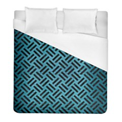 Woven2 Black Marble & Teal Brushed Metal Duvet Cover (full/ Double Size) by trendistuff