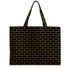 Brick1 Black Marble & Yellow Denim (r) Zipper Mini Tote Bag by trendistuff