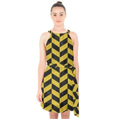 Chevron1 Black Marble & Yellow Denim Halter Collar Waist Tie Chiffon Dress