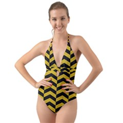 Chevron2 Black Marble & Yellow Denim Halter Cut Out One Piece Swimsuit