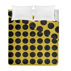 Circles1 Black Marble & Yellow Denim Duvet Cover Double Side (full/ Double Size) by trendistuff