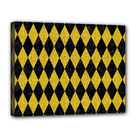 Diamond1 Black Marble & Yellow Denim Canvas 14  X 11  by trendistuff