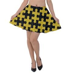 Puzzle1 Black Marble & Yellow Denim Velvet Skater Skirt by trendistuff
