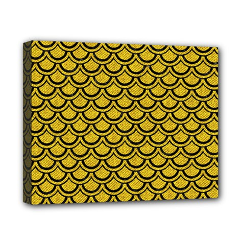 Scales2 Black Marble & Yellow Denim Canvas 10  X 8  by trendistuff