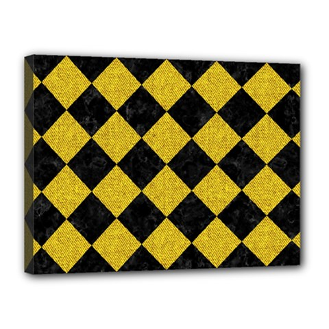 Square2 Black Marble & Yellow Denim Canvas 16  X 12  by trendistuff