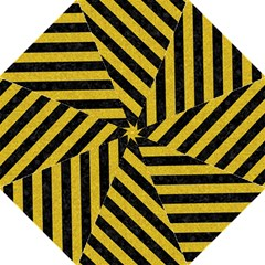 Stripes3 Black Marble & Yellow Denim Straight Umbrellas by trendistuff