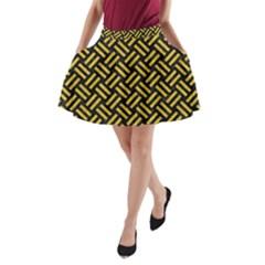 Woven2 Black Marble & Yellow Denim (r) A Line Pocket Skirt by trendistuff