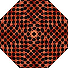Circles2 Black Marble & Copper Paint Hook Handle Umbrellas (small) by trendistuff