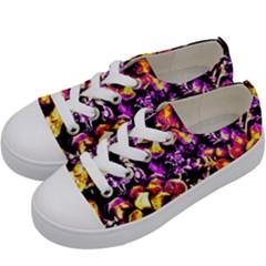 Purple Yellow Flower Plant Kids  Low Top Canvas Sneakers by Costasonlineshop