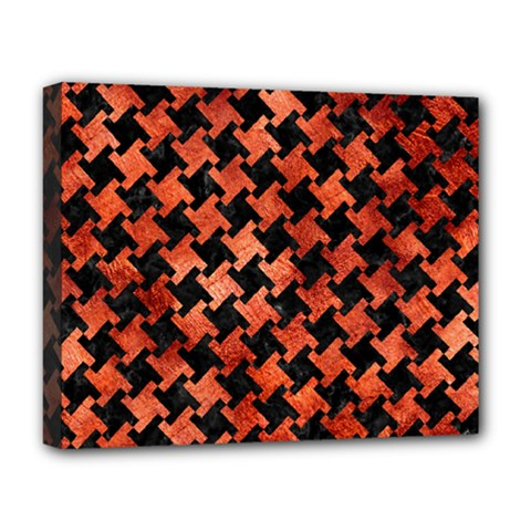 Houndstooth2 Black Marble & Copper Paint Deluxe Canvas 20  X 16   by trendistuff