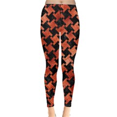 Houndstooth2 Black Marble & Copper Paint Leggings  by trendistuff