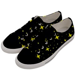 Bright Yellow   Stars In Space Men s Low Top Canvas Sneakers by Costasonlineshop