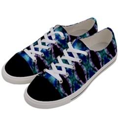 Blue, Light Blue, Metallic Diamond Pattern Women s Low Top Canvas Sneakers by Costasonlineshop