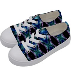 Blue, Light Blue, Metallic Diamond Pattern Kids  Low Top Canvas Sneakers by Costasonlineshop