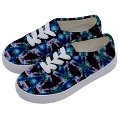 Blue, Light Blue, Metallic Diamond Pattern Kids  Classic Low Top Sneakers by Costasonlineshop