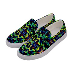 Cool Green Blue Yellow Design Women s Canvas Slip Ons by Costasonlineshop