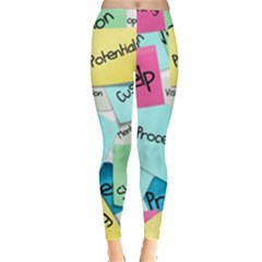 Stickies Post It List Business Leggings  by Celenk