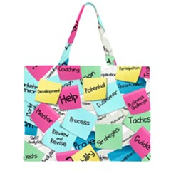 Stickies Post It List Business Zipper Large Tote Bag by Celenk