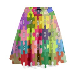 Puzzle Part Letters Abc Education High Waist Skirt by Celenk