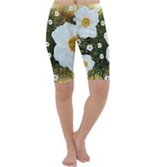Summer Anemone Sylvestris Cropped Leggings  by Celenk