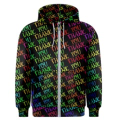 Thank You Font Colorful Word Color Men s Zipper Hoodie
