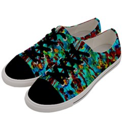 Turquoise Blue Green  Painting Pattern Men s Low Top Canvas Sneakers by Costasonlineshop