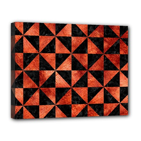 Triangle1 Black Marble & Copper Paint Canvas 14  X 11  by trendistuff