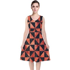 Triangle1 Black Marble & Copper Paint V Neck Midi Sleeveless Dress  by trendistuff