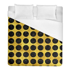 Circles1 Black Marble & Gold Paint Duvet Cover (full/ Double Size) by trendistuff