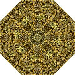 Damask2 Black Marble & Gold Paint Hook Handle Umbrellas (medium) by trendistuff