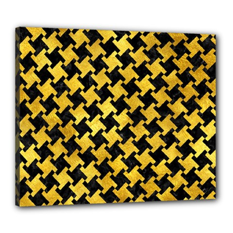 Houndstooth2 Black Marble & Gold Paint Canvas 24  X 20  by trendistuff