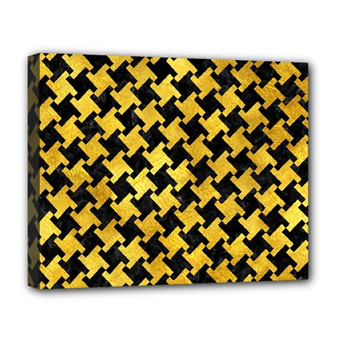 Houndstooth2 Black Marble & Gold Paint Deluxe Canvas 20  X 16   by trendistuff
