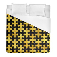 Puzzle1 Black Marble & Gold Paint Duvet Cover (full/ Double Size) by trendistuff