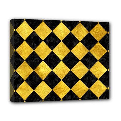 Square2 Black Marble & Gold Paint Deluxe Canvas 20  X 16   by trendistuff
