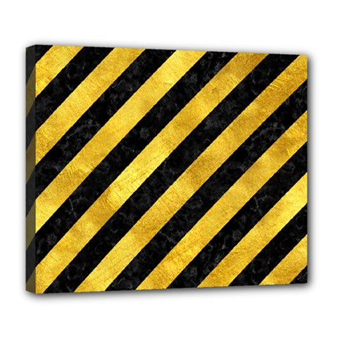 Stripes3 Black Marble & Gold Paint (r) Deluxe Canvas 24  X 20   by trendistuff
