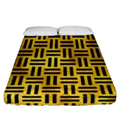 Woven1 Black Marble & Gold Paint Fitted Sheet (queen Size) by trendistuff