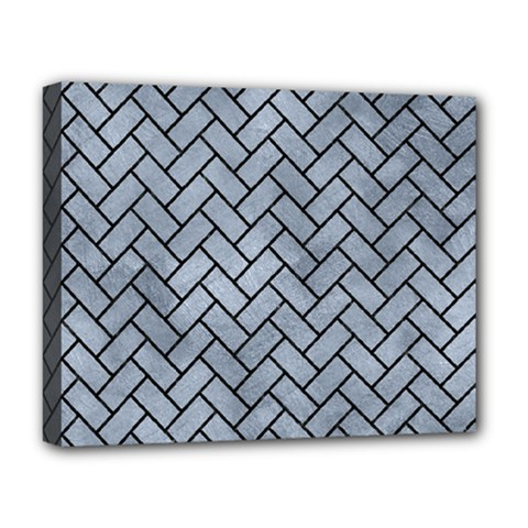 Brick2 Black Marble & Silver Paint Deluxe Canvas 20  X 16   by trendistuff