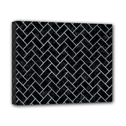 Brick2 Black Marble & Silver Paint (r) Canvas 10  X 8  by trendistuff