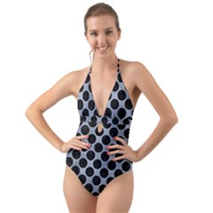 Circles2 Black Marble & Silver Paint Halter Cut Out One Piece Swimsuit