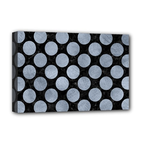 Circles2 Black Marble & Silver Paint (r) Deluxe Canvas 18  X 12   by trendistuff