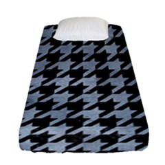 Houndstooth1 Black Marble & Silver Paint Fitted Sheet (single Size) by trendistuff