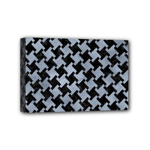 Houndstooth2 Black Marble & Silver Paint Mini Canvas 6  X 4  by trendistuff