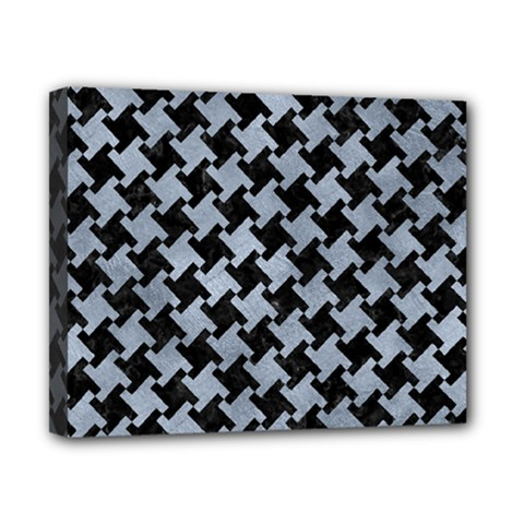 Houndstooth2 Black Marble & Silver Paint Canvas 10  X 8  by trendistuff