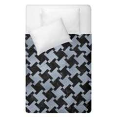 Houndstooth2 Black Marble & Silver Paint Duvet Cover Double Side (single Size) by trendistuff