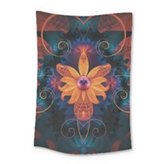 Beautiful Fiery Orange & Blue Fractal Orchid Flower Small Tapestry by beautifulfractals