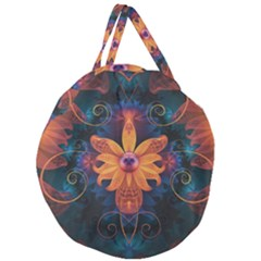 Beautiful Fiery Orange & Blue Fractal Orchid Flower Giant Round Zipper Tote by beautifulfractals
