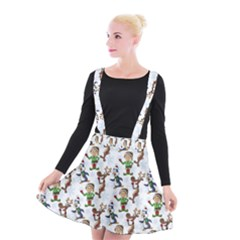 Christmas Pattern Suspender Skater Skirt by tarastyle