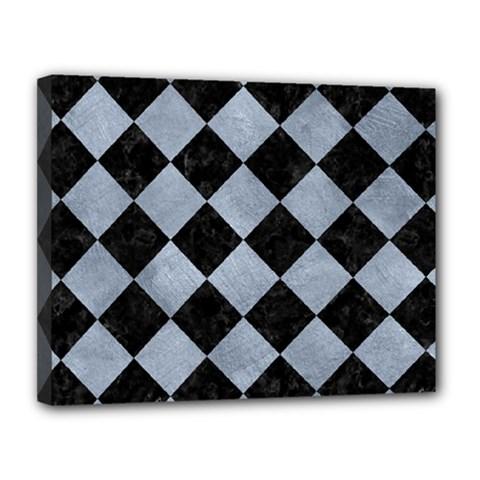 Square2 Black Marble & Silver Paint Canvas 14  X 11  by trendistuff